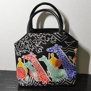 Vtg tribal graphic giraffe faux leather handbag